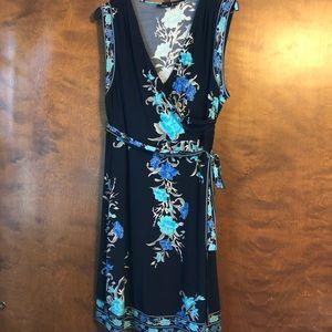 Apt 9 sleeveless faux wrap dress with tie belt